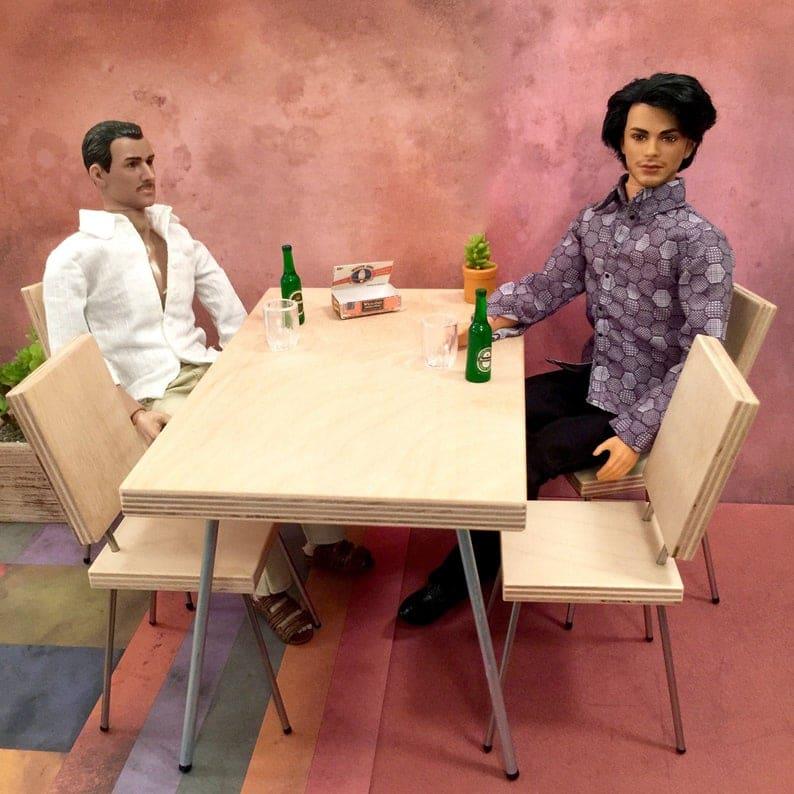 1/6 Scale обеденного стол, Mid Century Modern Миниатюрный для фигурки, кукол, или Барби диорамы (фанеры балтийской березы верхние и металлические ножки)