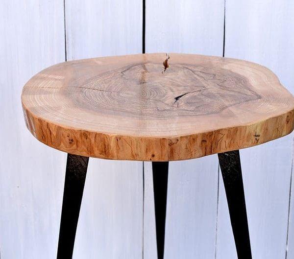 22 & # 39 & # 39 Вуд Кусочек Журнальный стол с металлическими ножками Деревянный Конец таблицы Край Sidetable Rustic Wood Slab Таблица Loft украшения современной мебели