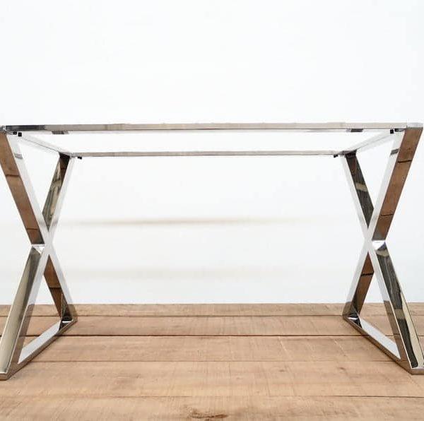 """28 & Quot;Х 24 & quot;- кроме 42 & quot;Основание стола X-frame, нержавеющая сталь, высота 26 & quot;До 32 """"Набор (2)"""