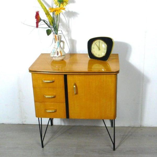50s 60s Ночь столик Прихожая ларчик Бук Вуд фортепиано Лак Металл Струнный шпилька ноги, Середина века Современная Германия