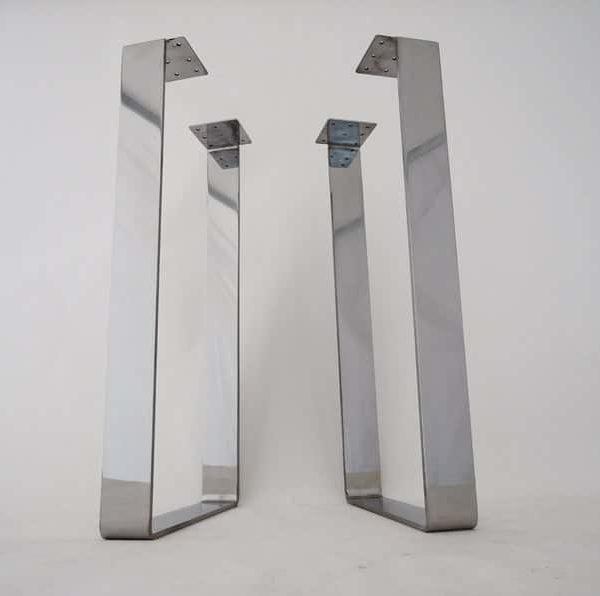 Подстолье нержавеющая сталь квадратное на 2 ножках MN04