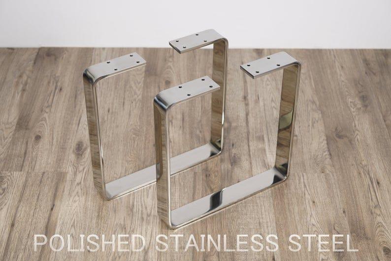 Ножки скамьи, Плоские ножки скамьи, Ножки стола из нержавеющей стали, полированная нержавеющая сталь, нержавеющая сталь, хромированные ножки, полированные ножки стола