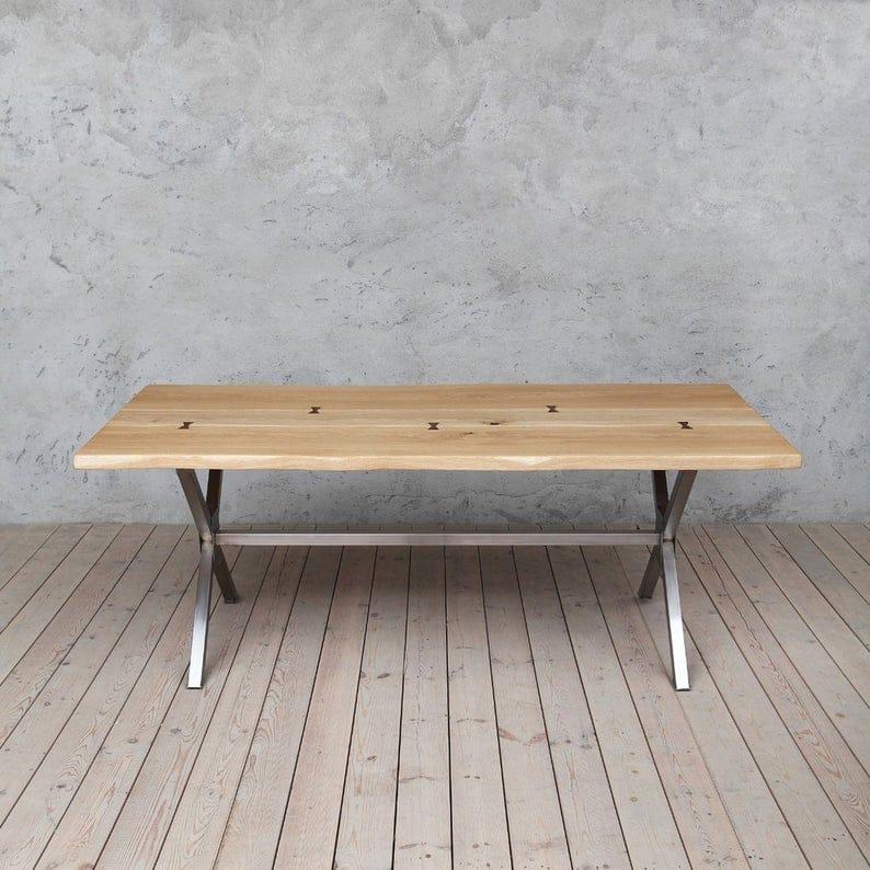 Bentley: Solid Oak Живого Края Промышленные Обеденный стол Деревянная Сельская исправленная Урожай