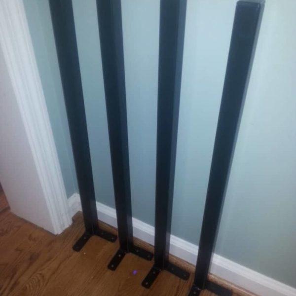 Черный с порошковым покрытием 39-дюймовый прямой квадратный стол ноги - За ноги