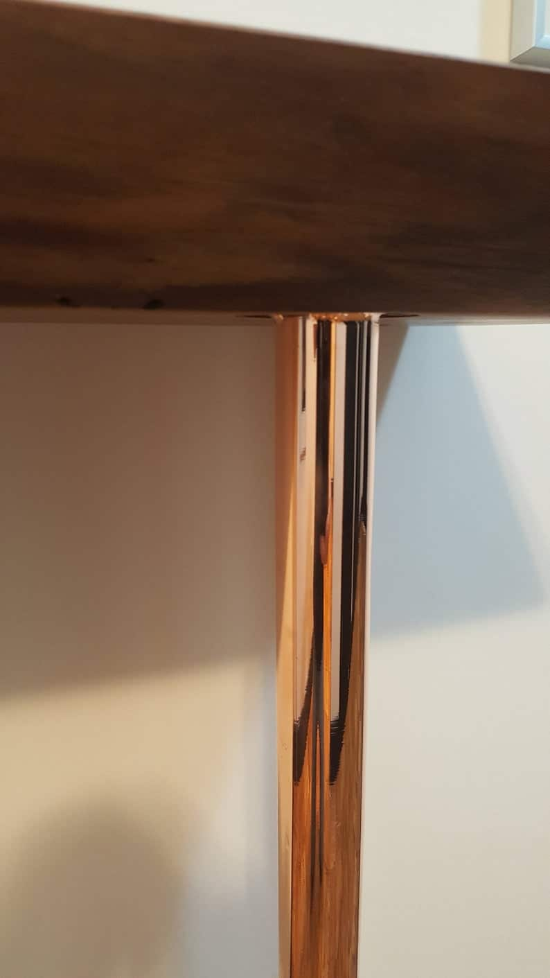 черный орех консоль стол с твердыми металлическими ножками и медной отделкой