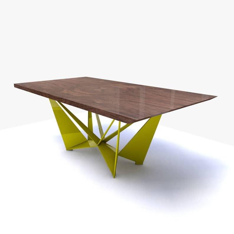 Blade - Обеденный стол - Твердые деревообрабатывающих орех - черный Цветные металлические ножки