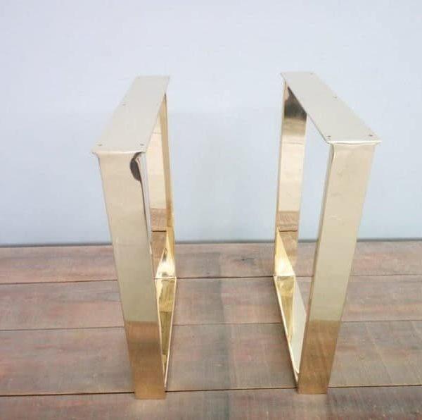 """Медные ножки обеденного стола, 28 & quot;Ножки стола трапециевидные, ширина основания 24 """"Высота 26 & quot;- 32 & quot;Комплект (2)"""