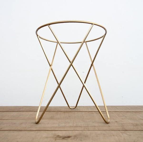 Подстолье для круглого стола из нержавеющей стали с покрытием под золото пк061