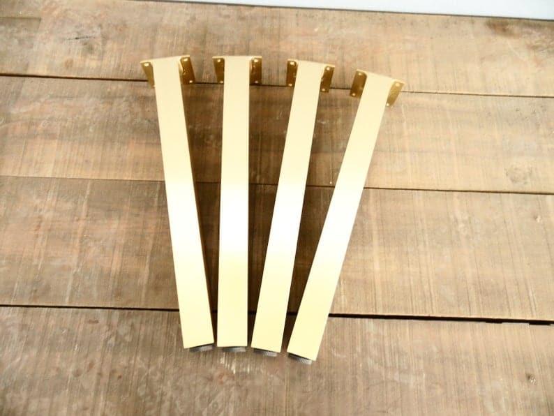 """Латунные ножки стола, 28 """"Ножки стального столба, латунь, высота 26 & quot;- 32 & quot;Комплект (4)"""