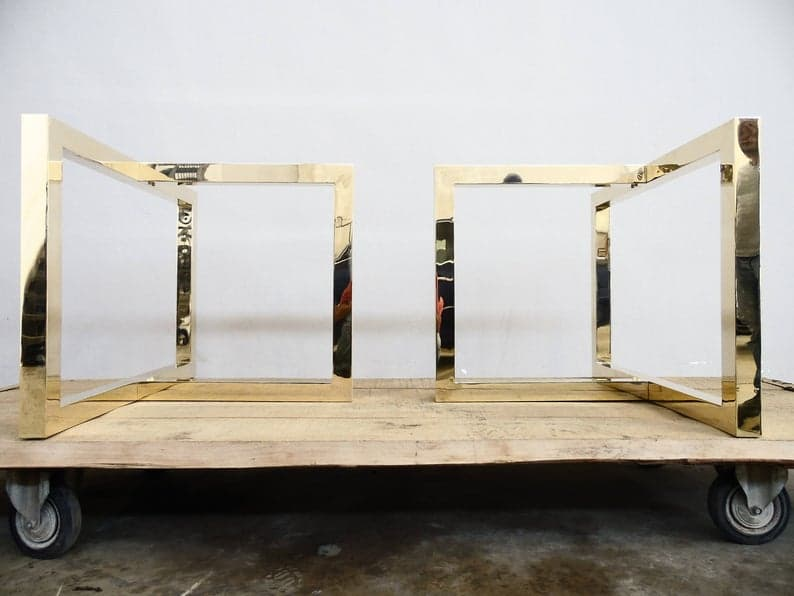 """Латунные ножки стола, 28 """"H x 35 × W x 26 & quot;Ext.Латунь Стол Эстакада Ноги Высота 26 """"- 32 & quot;Набор (2)"""