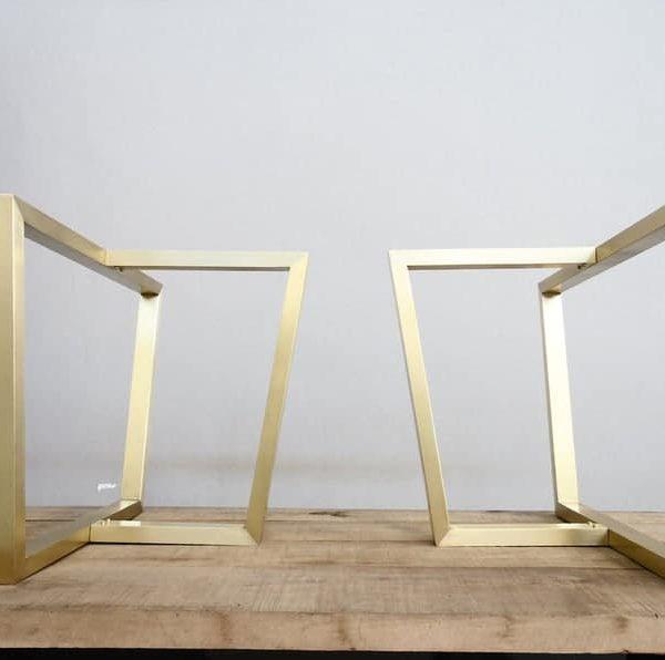 """Латунные трапециевидные ножки для трапеции, 28 """"Х 28 """"X 16 """"Основание трапециевидного стола, высота 26 """"- 32 & quot;Набор (2)"""
