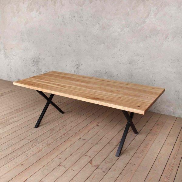 Мост Solid Natural Аш Обеденный стол с Matt Black X ножках