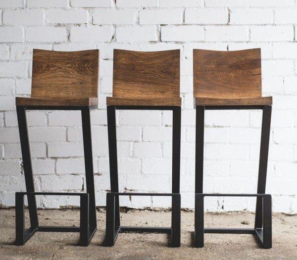 Стул / бар стул / Кухня стул / Металлические ножки / Промышленная мебель / Сельский декор / Декор для дома / Мебель / Мебель из дерева / Wood стул