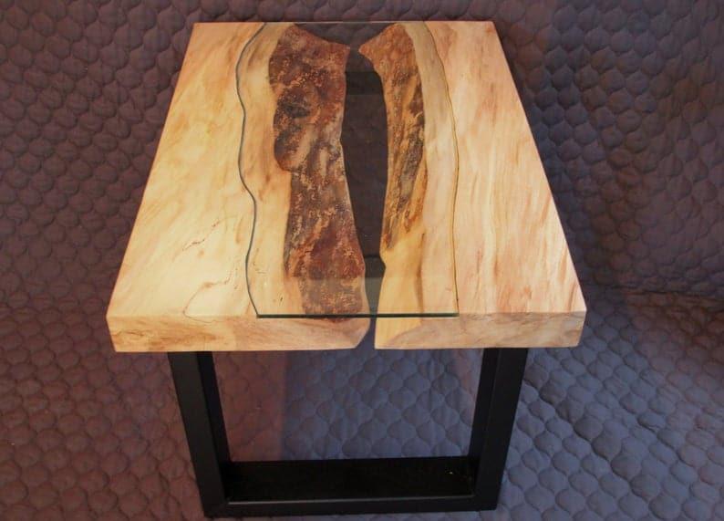 Честнат кофе / столик со стеклянной вставкой
