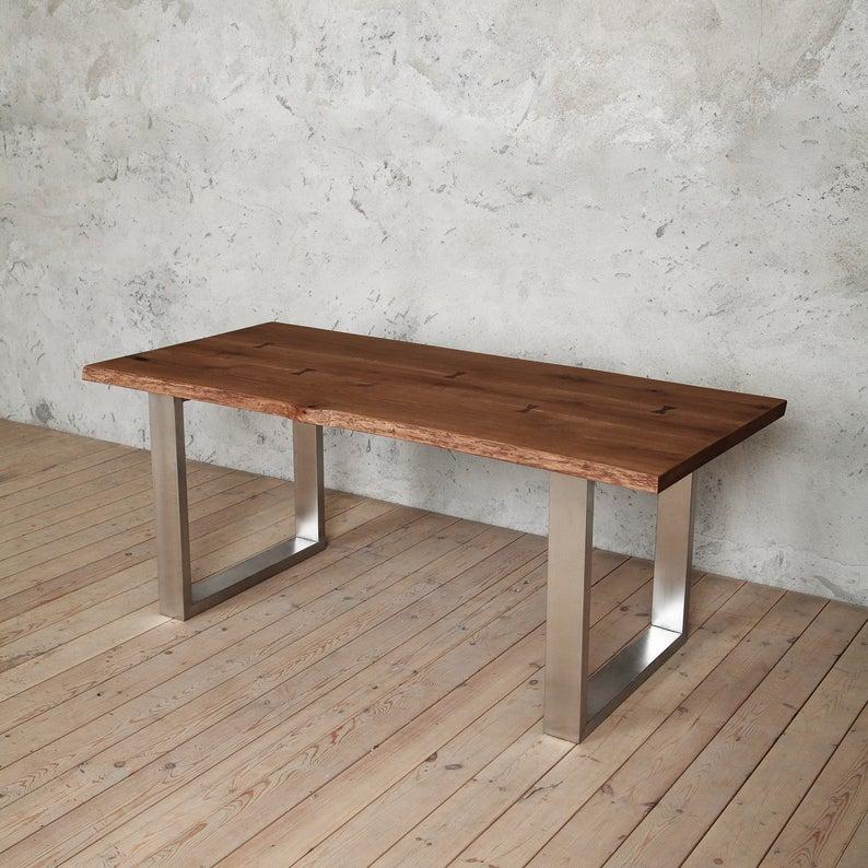 Clifton U образный из нержавеющей стали ноги Живая края Дуб обеденный стол