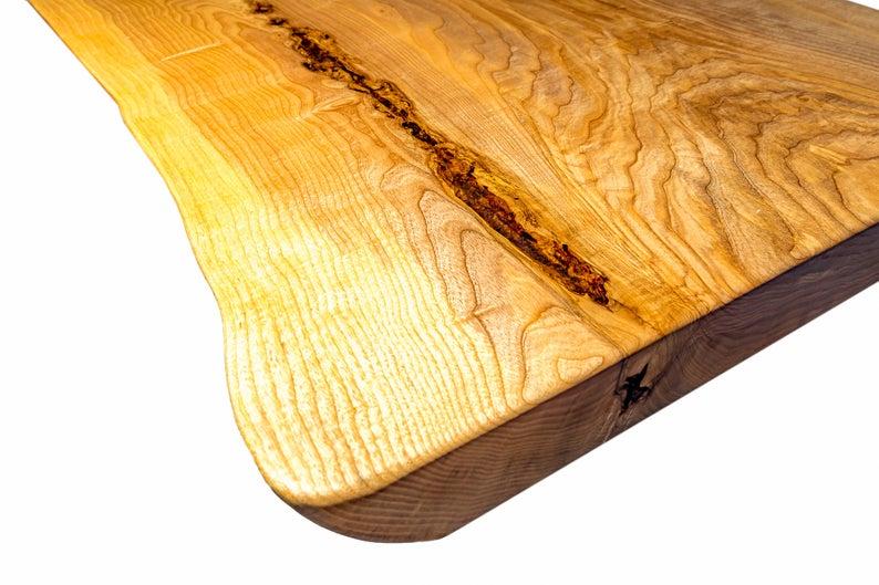 Журнальный столик с metallhair-контактными ножками, Цельный живой край натурального ясень