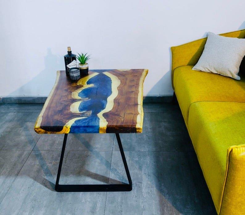 Кофе tabale, смола стол, эпоксидная смола, река стол, синие, фиолетовые, металлические ножки,
