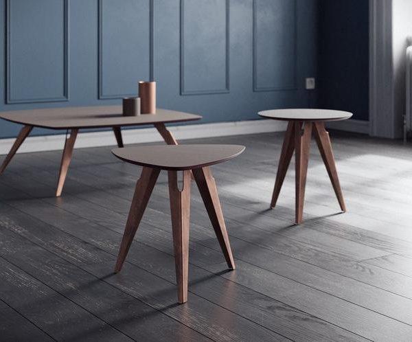 Журнальный столик, центральный столик, стол в гостиной из стальной основы и дерева / картона / стекла