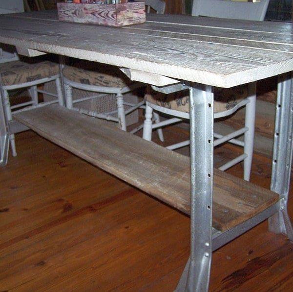 Коттедж Шик Barn Вуд 81 & Quot Эстакада Farm обеденного стола, Промышленные металлические ножки