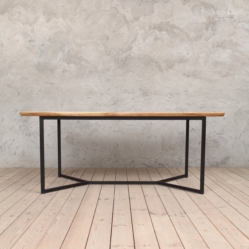Декан Solid Живая Пограничный Дуб Industrial обеденный стол с тремя Planks
