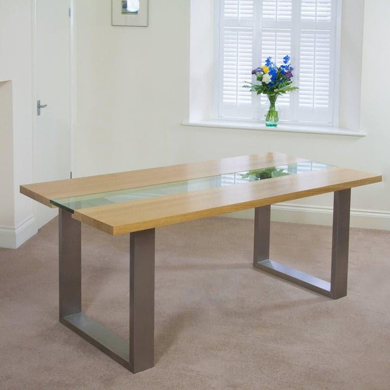 Обеденный стол, выполненный на заказ любого размера. Дерево, стекло и сталь, современный стиль ручной работы на заказ, ручной работы столовой мебели. Исправленные древесины.