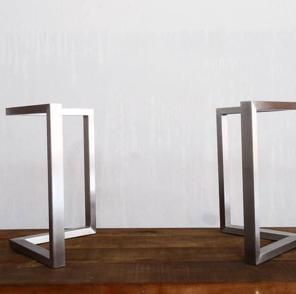 """Ножки обеденного стола, 28 & quot; Х 28 """" Ножки настольного кронштейна, нержавеющая сталь, высота 26 & quot; До 32 """" Набор (2)"""