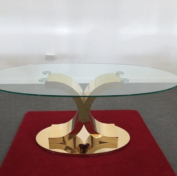 Подстолье для овального стола из нержавеющей стали с покрытием под золото ПО607