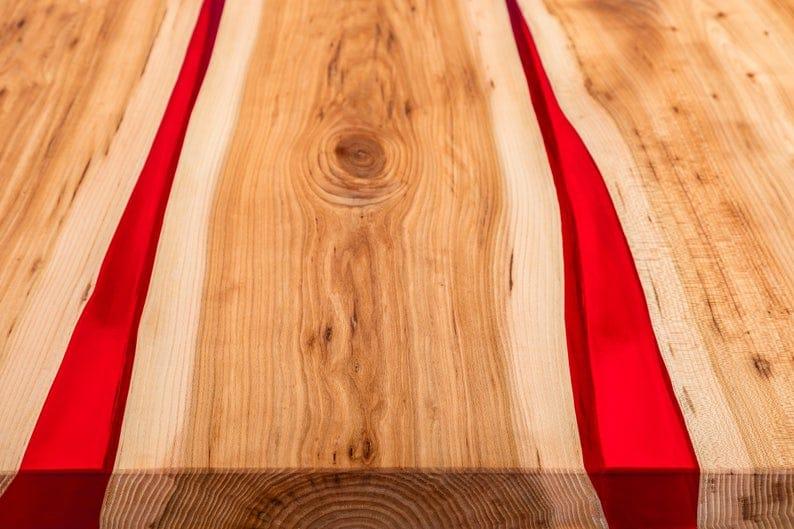 Обеденный стол из натурального дерева Живой край Эпоксидная смола Современный дизайн