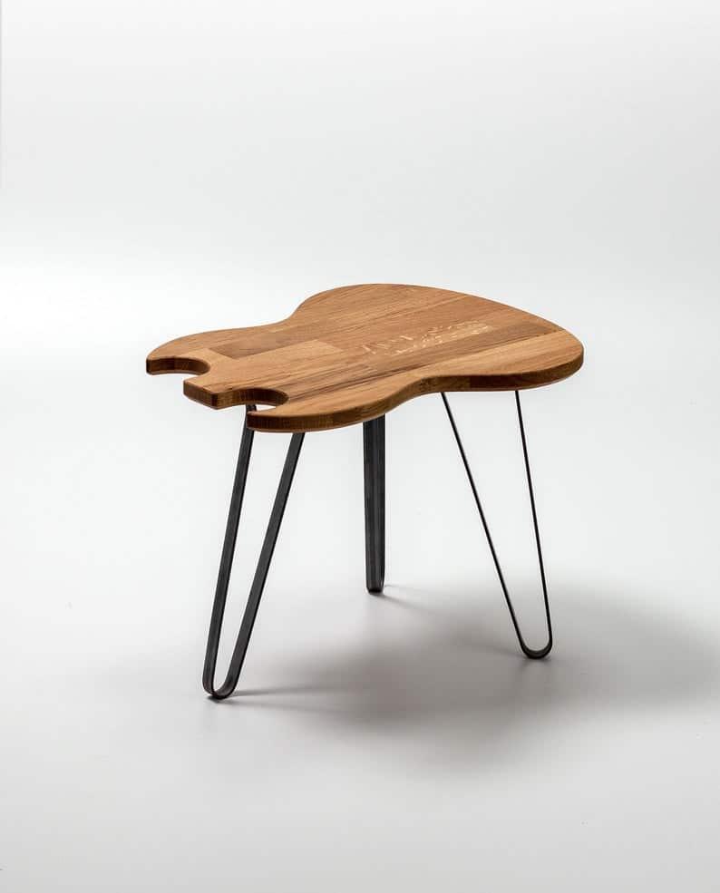 Гитара Таблица Double Cut - Side Table - Дизайн мебели - Металлические ножки - Журнальный столик - Подарок - Гаджет - Дизайн интерьера - конец таблицы