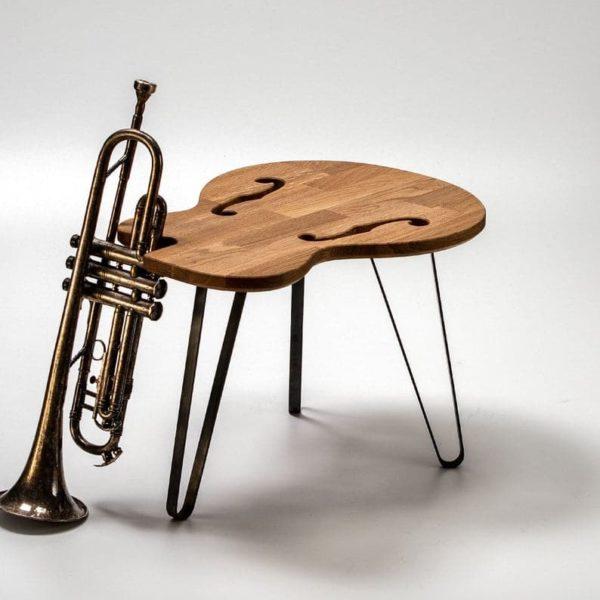 Гитара Таблица Hollow B - Стол - Дизайн мебели - Solid Oak Wood - Металлические ножки - гитара Art - Журнальный столик - Подарок - Гаджет - Дизайн интерьера