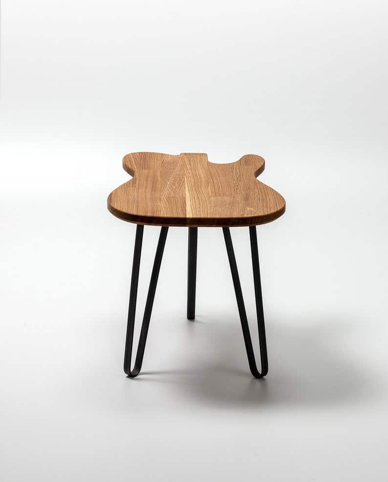 Гитара Стол - T-Модель- Таблица - Дизайн мебель - Сплошные Oak Wood - Металлические ножки - гитара Art - Журнальный столик - Подарок - Гаджет - Дизайн интерьера