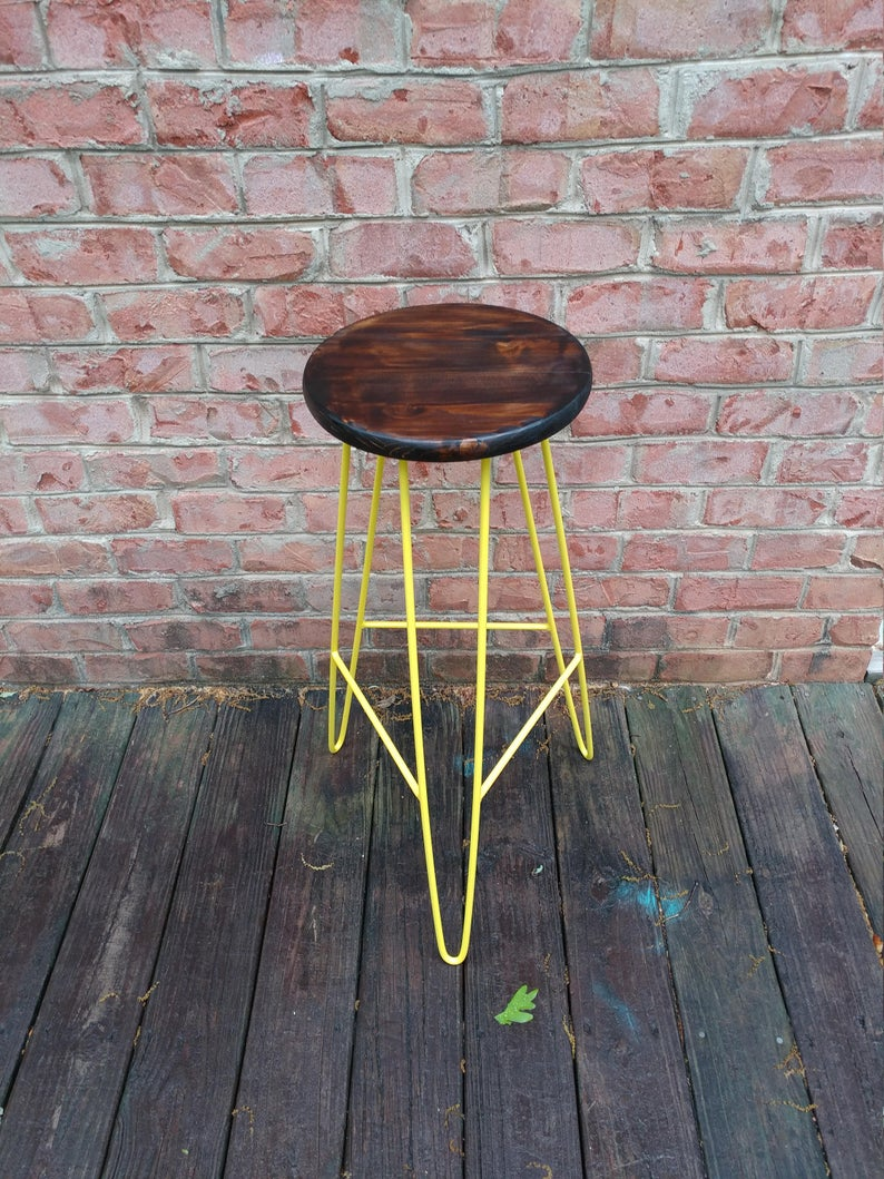 Шпилька Барный стул - Темный орех Top Yellow корпус- Пользовательские Высоты Доступные