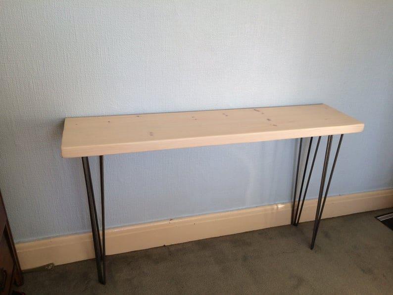 Холл стол / ConsulTable / Массив дерева / стол / Туалетный столик / Urban / Recycled / выполненное на заказ / TVstand / Сделано в Великобритании / шпилька ноги / Металлические ножки / спасенных / Прихожей