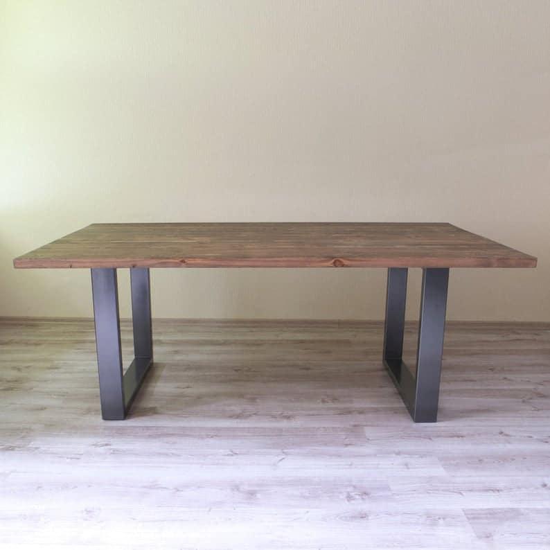 Holborn Современные Промышленные Стиль Обеденный стол из дерева металла U образный Ноги Деревенское ретро