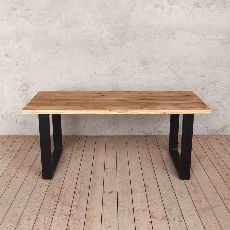 Holborn Натуральный дуб с черными ногами Промышленные обеденным столом Деревянный Сельский мелиорированных Урожай