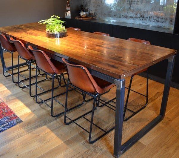 Промышленный Черный орех Обеденный стол / Исправленный лес Конференц-стол