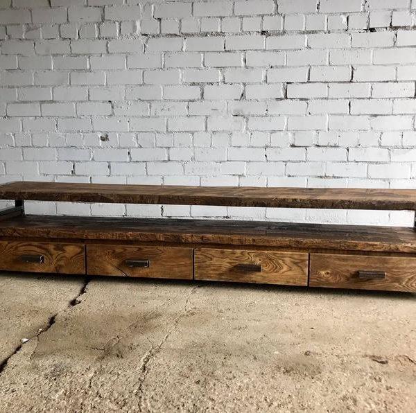 Промышленная консоль СМИ / Журнальный столик / Дуб TV стол / Industrial TV стол / Промышленный стол / Промышленная мебель / Rustic мебель