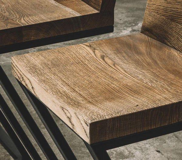Промышленные дубовый барный стул / Кухня стул / Металлические ножки / Промышленная мебель / Сельский декор / Декор для дома / Мебель / Мебель из натурального дерева