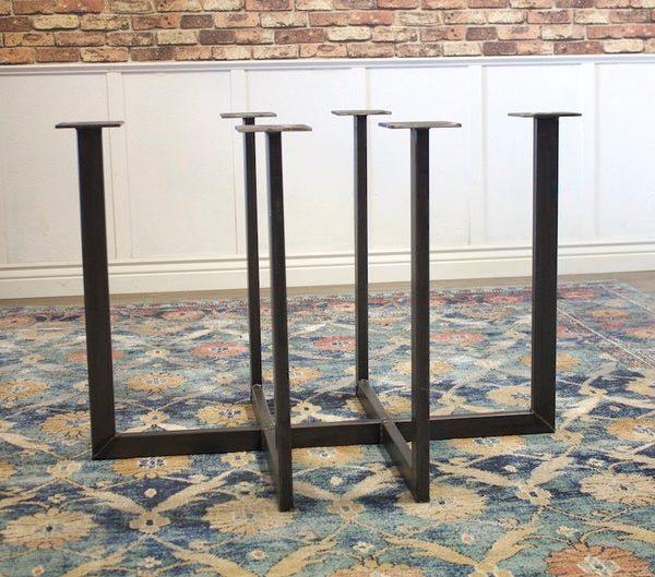Industrial Steel Сварные Metal Прямоугольник Обеденный стол Кухня Основа Пьедестал на ребре Leg
