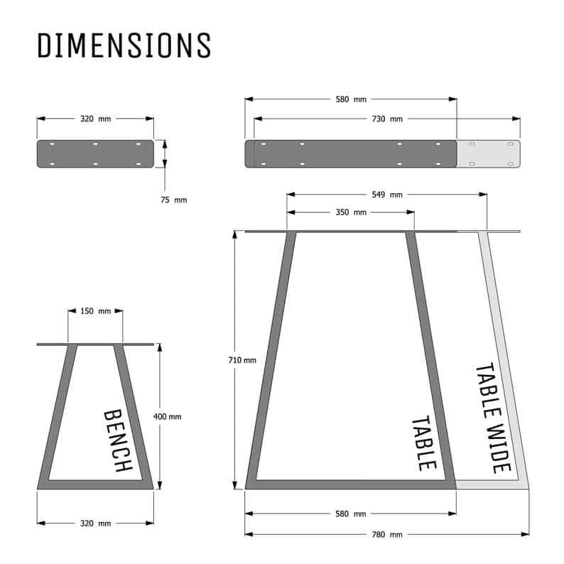 Промышленные Ножки - трапеция Дизайн - Box Раздел сталь, различные размеры и Finshes (пара)