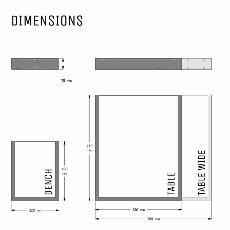 Промышленные Ножки - Квадратный дизайн - Box Раздел стали, различные размеры и Finshes (пара)