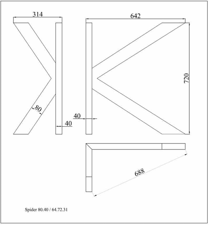 Промышленные ножки стола, Современная, столовый стол, DIY, SPIDER 80.40Unique Ножка