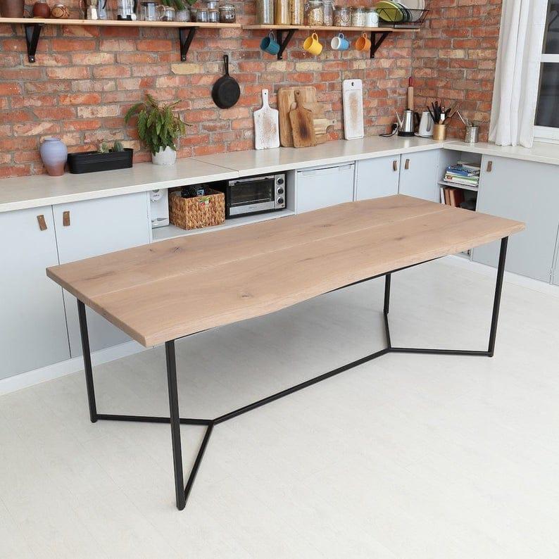 Бесконечность Твердая Живой Край White Wash Дуб Industrial обеденный стол с двумя досками Деревянный Сельский мелиорированных Урожай
