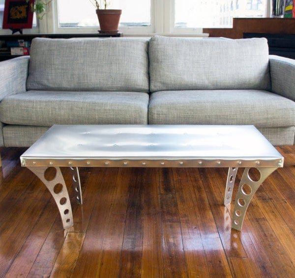 JetSet Журнальный столик + алюминий | Авиатор Вдохновленный Журнальный столик Metal Urban Industrial Современная дизайнерская мебель Silver Квартира Мебель