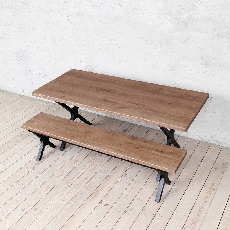 Кью Дуб Твердый Промышленные Обеденный стол Деревянная Сельская исправленная Урожай