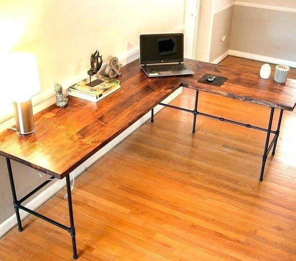 L-образный стол, 96 & # 39 & # 39 х 96 & # 39 & # 39 х 22 & # 39 & # 39 D Industrial Реверсивный Corner Компьютер Office Desk Таблица Workstation для дома Solid Ножки Wood & Metal Pipe