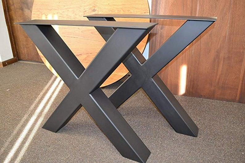 """Ножки для стола 28 & quot;Ножки стола X-frame, 28 """"Ширина, высота 26 & quot;До 32 """"Набор (2)"""