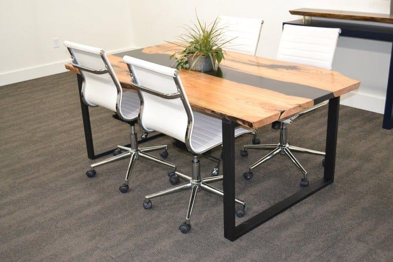 Живой Край гледичия Epoxy Resin River Столовый или конференц-стол с ножками Рамы Heavy Duty Металл U