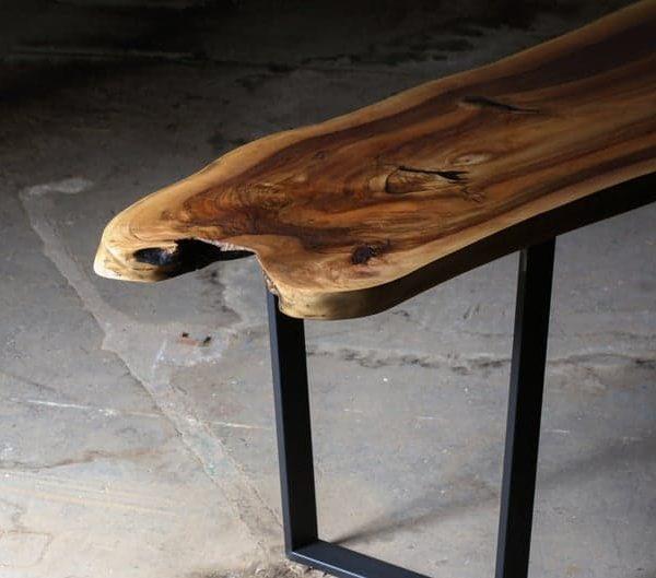 Живой Край Walnut Slab Solid Wood Журнальный столик с металлическими ножками - Planc Лео
