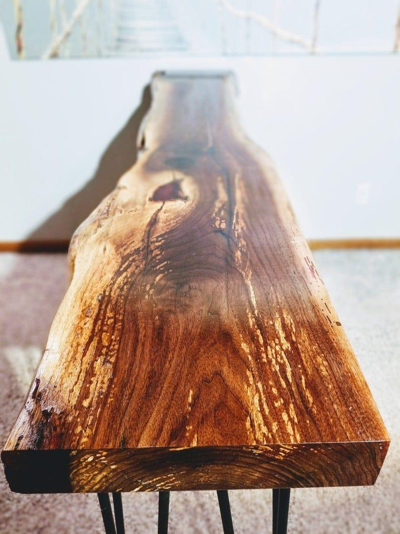 Живой край ореха консоль стол с шпилькой ног